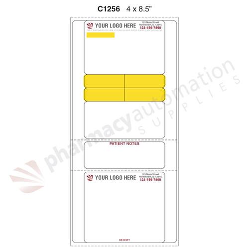 "Custom 4"" x 8.5"" Direct Thermal Prescription Label - Form C1256"