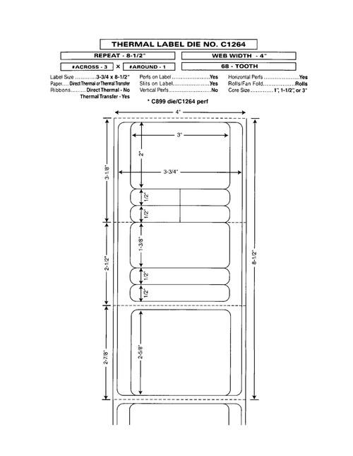 "Custom 4"" x 8.5"" Direct Thermal Prescription Label - Form C1264"