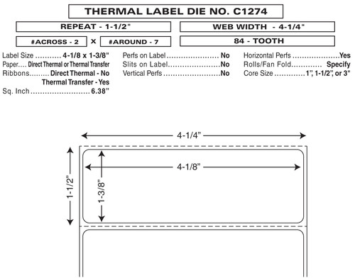 "Custom 4.25"" x 1.5"" Direct Thermal Prescription Label - Form C1274"
