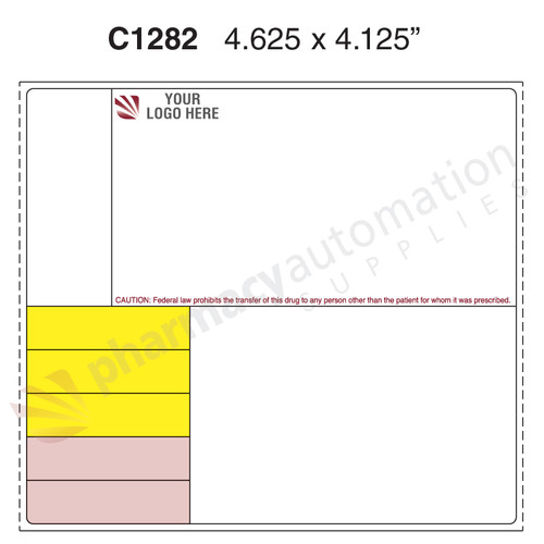 "Custom 4.125"" x 4.625"" Direct Thermal Prescription Label - Form C1282"