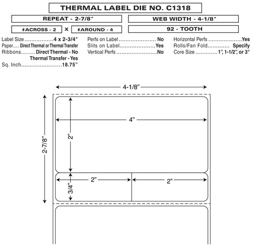 "Custom 4.1125"" x 2.875"" Direct Thermal Pharmacy Label - Form C1318"