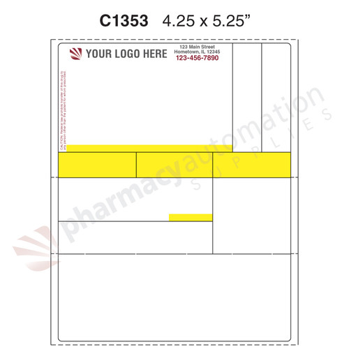 "Custom 4.25"" x 5.25"" Direct Thermal Prescription Label - Form C1353"