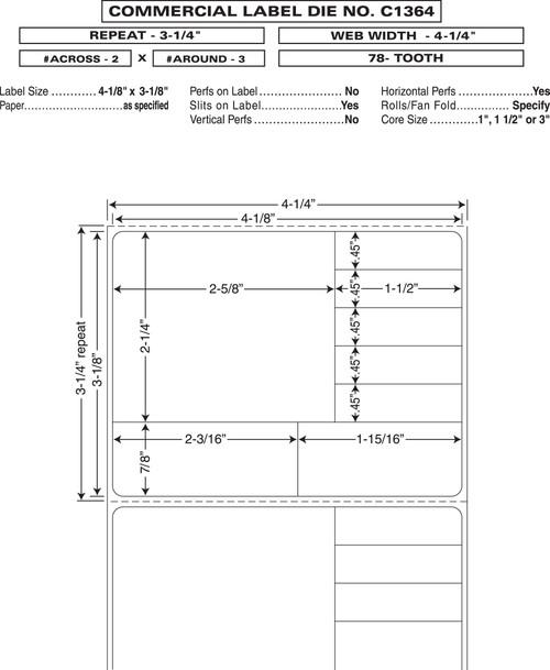 "Custom 4.25"" x 3.25"" Direct Thermal Prescription Label - Form C1364"