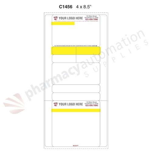 "Custom 4"" x 8.5"" Direct Thermal Prescription Label - Form C1456"