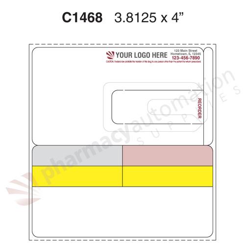 "Custom 3.8125"" x 4"" Direct Thermal Prescription Label - Form C1468"
