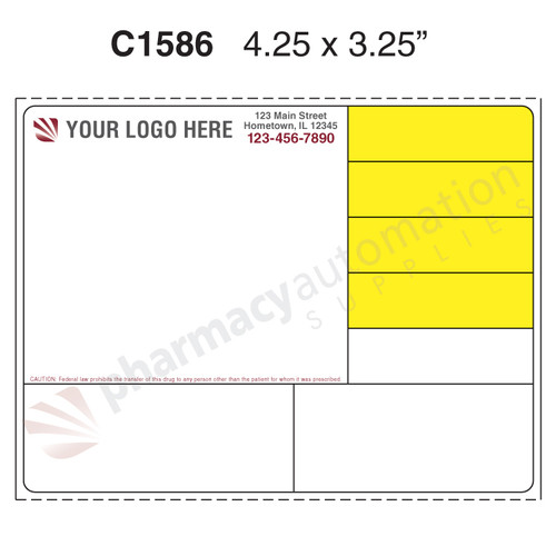 "Custom 4.25"" x 3.25"" Direct Thermal Prescription Label - Form C1586"