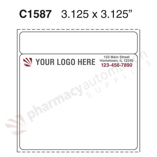 "Custom 3.125"" x 3.125"" Direct Thermal Prescription Label - Form C1587"