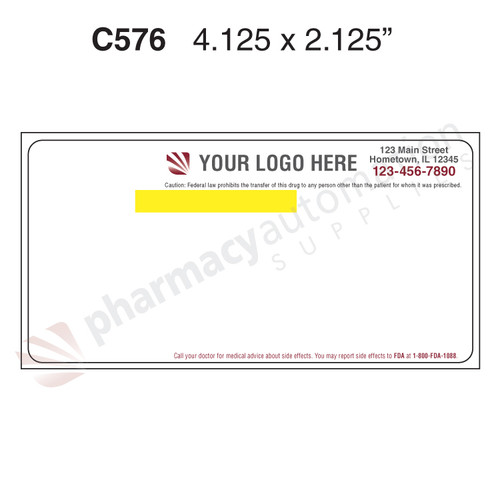 """Custom 2.125"""" x 4.125"""" Direct Thermal Parata RDS Label - Form C576"""