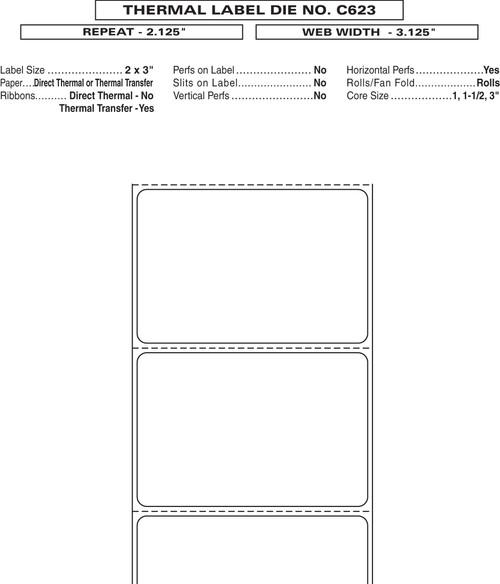 "Custom 3.125"" x 2.125"" Direct Thermal Prescription Label - Form C623"
