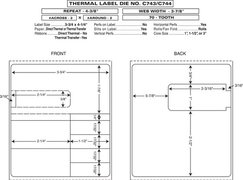 "Custom 3.875"" x 4.375"" Direct Thermal Rx Label - Form C743/744"