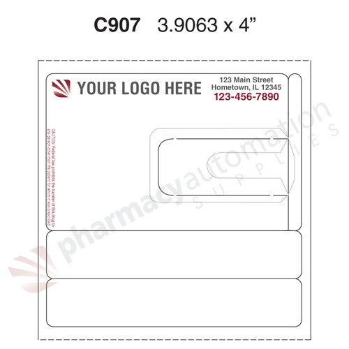 "Custom 4"" x 3.875"" Direct Thermal Prescription Label - Form C907"