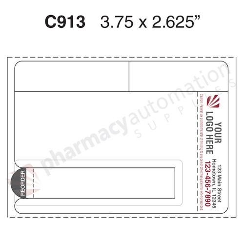 "Custom 3.75"" x 2.625"" Direct Thermal Prescription Label - Form C913"