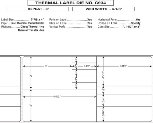 "Custom 4.125"" x 8"" Direct Thermal Prescription Label - Form C934"