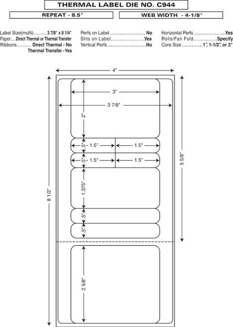"Custom 4.125"" x 8.5"" Direct Thermal Prescription Label - Form C944"