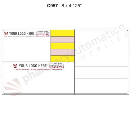 "Custom 4.125"" x 8"" Direct Thermal Prescription Label - Form C957-4C"