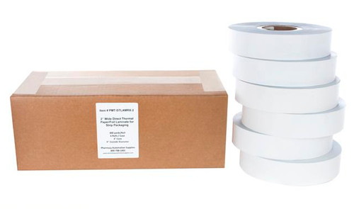 "Direct Thermal Paper/Foil Laminate for Strip Packaging, 2"" x 900'"