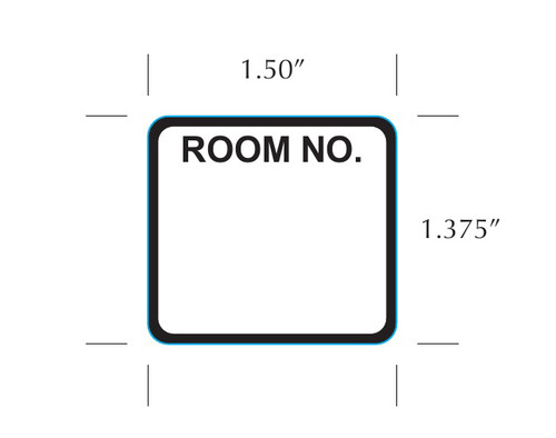 "Stock 1.5"" x 1.375"" Room Number Label for Patient Chart"