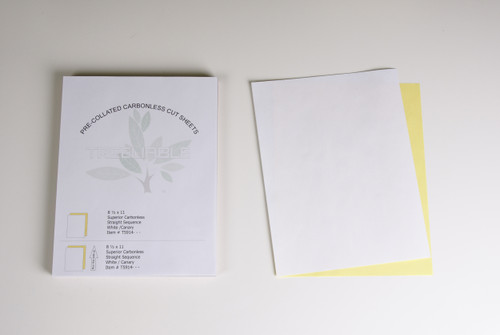 "Stock 8.5"" x 11"" Pre-Collated 2-Ply Carbonless Bond Sheets, White/Canary"