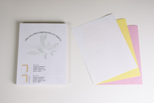 "Stock 8.5"" x 11"" Pre-Collated 3-Ply Carbonless Bond Sheets, White/Canary/Pink"