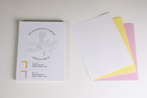 """Stock 8.5"""" x 11"""" Pre-Collated 3-Ply 20# Bond Sheets, White/Canary/Pink"""