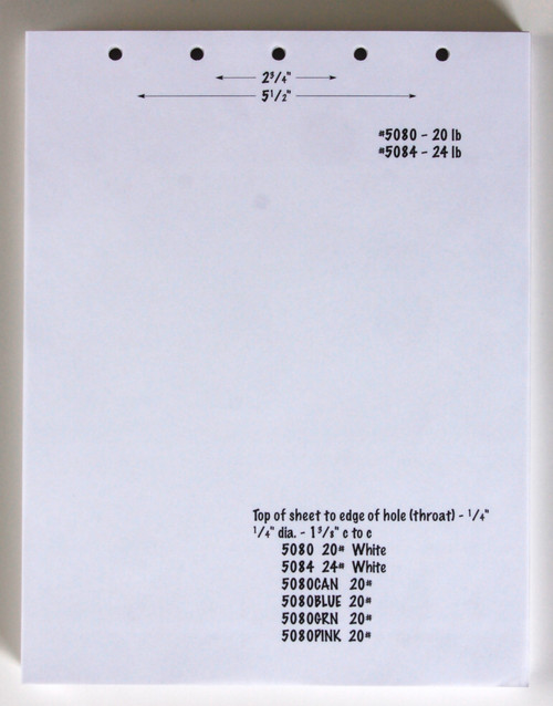 "Stock 8.5 "" x 11"" Blank Laser Cut Sheet w/ 5 Hole Punch, 20# bond"