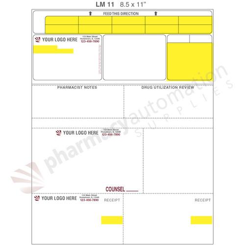 "Custom 8.5"" x 11"" Prescription Laser Label - Form LM011"