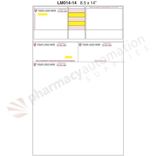 "Custom 8.5"" x 14"" Prescription Laser Label - Form LM030-14-2S"