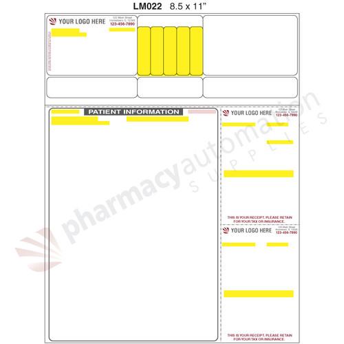 "Custom Printed 8.5"" x 11"" Laser Label, 2 Side Print - Form LM022"