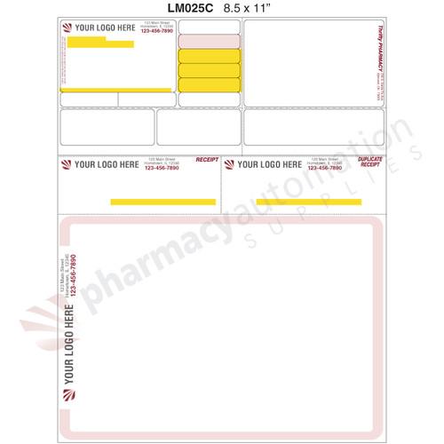 "Custom Printed 8.5"" x 11"" Laser Label, 2 Side Print - Form LM025C"