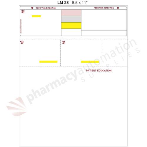 "Custom 8.5"" x 11"" Prescription Laser Label - Form LM028"