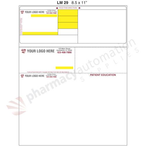 "Custom 8.5"" x 11"" Prescription Laser Label - Form LM029"