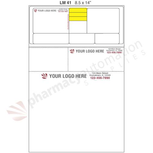 "Custom 8.5"" x 14"" Prescription Laser Label - Form LM041-14"