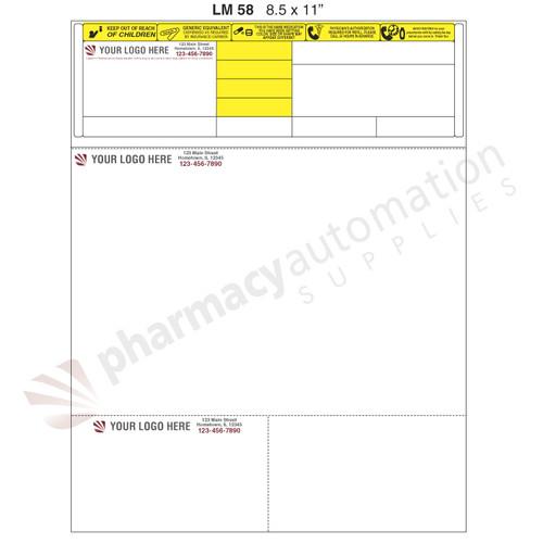 "Custom 8.5"" x 11"" Prescription Laser Label - Form LM058"