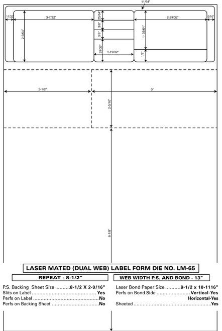 "Custom 8.5"" x 13"" Prescription Laser Label - Form LM065-13"