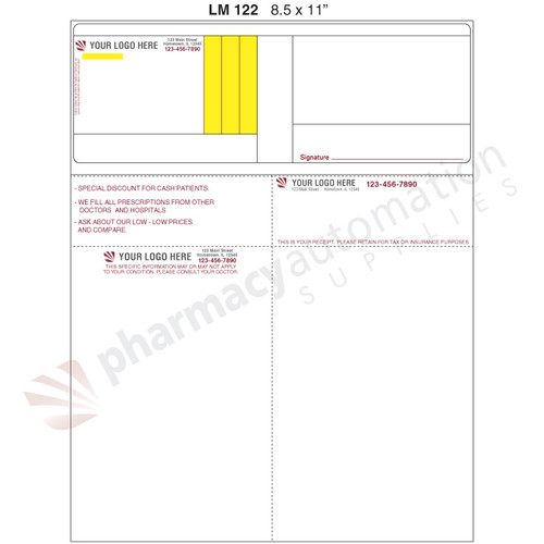 "Custom 8.5"" x 11"" Prescription Laser Label - Form LM122-C-2S"