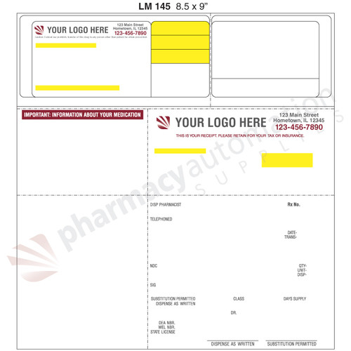 "Custom 8.5"" x 9"" Prescription Laser Label - Form LM145-9"
