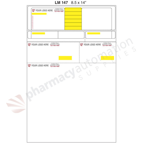 "Custom 8.5"" x 14"" Prescription Laser Label - Form LM147-14-2S"