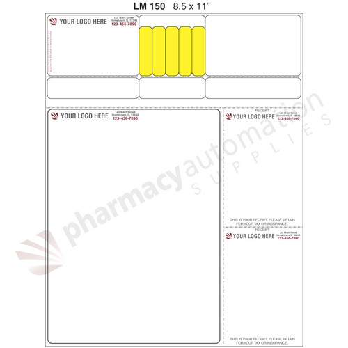 "Custom 8.5"" x 11"" Prescription Laser Label - Form LM150"