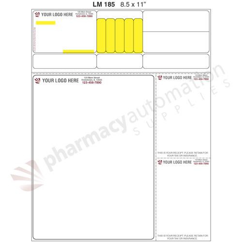 "Custom 8.5"" x 11"" Prescription Laser Label - Form LM185"
