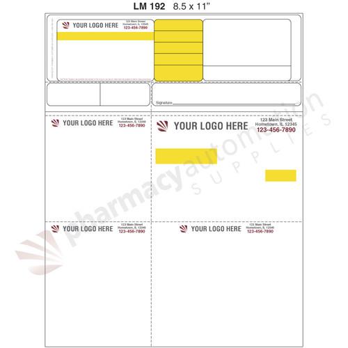 "Custom 8.5"" x 11"" Prescription Laser Label - Form LM192"