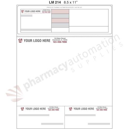 "Custom 8.5"" x 11"" Prescription Laser Label - Form LM214"