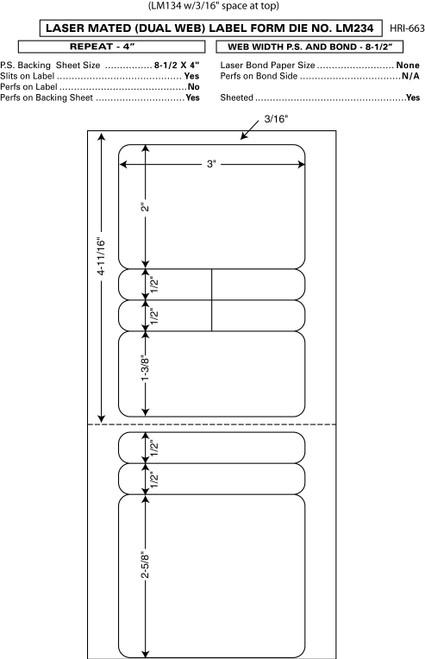 "Custom 4"" x 8.5"" Prescription Laser Label - Form LM234"