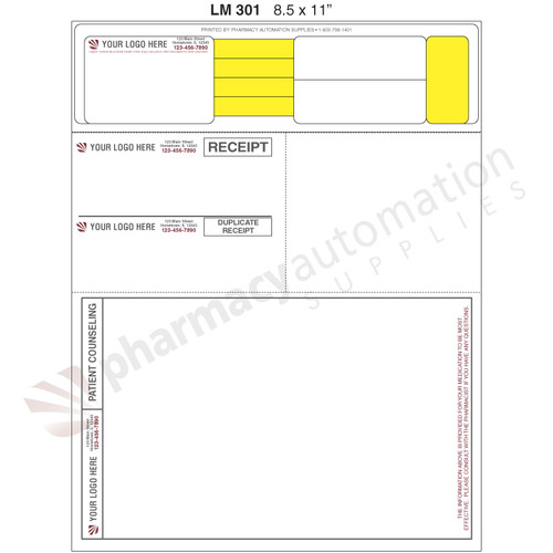 "Custom 8.5"" x 11"" Prescription Laser Label - Form LM301"