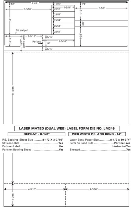 "Custom 8.5"" x 14"" Prescription Laser Label - Form LM349-14"
