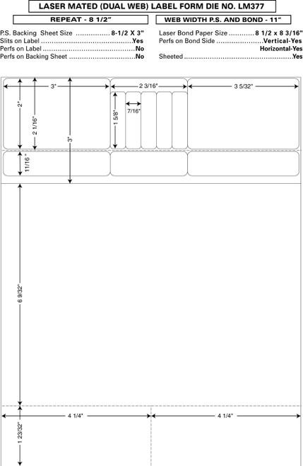 "Custom 8.5"" x 11"" Prescription Laser Label - Form LM377"