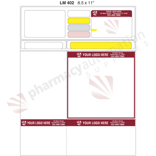 "Custom 8.5"" x 11"" Prescription Laser Label - Form LM402"