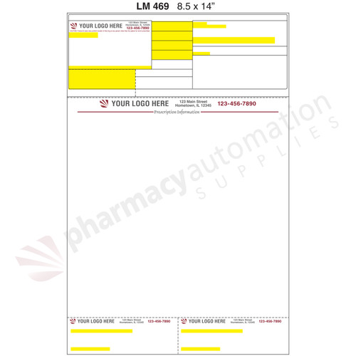 "Custom 8.5"" x 14"" Prescription Laser Label - Form LM469-14"