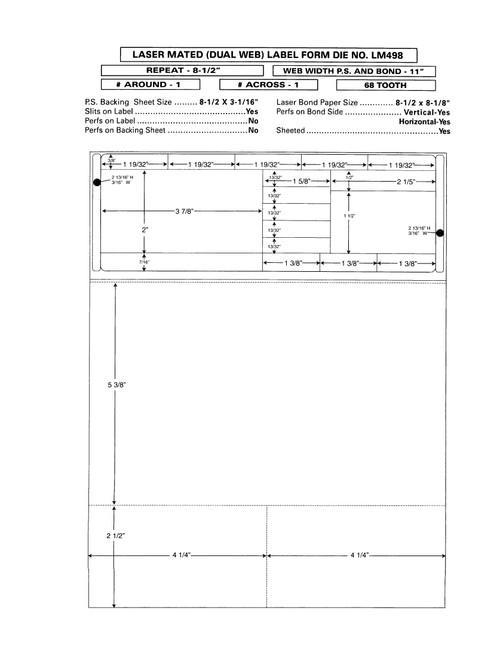 "Custom 8.5"" x 11"" Prescription Laser Label - Form LM498"