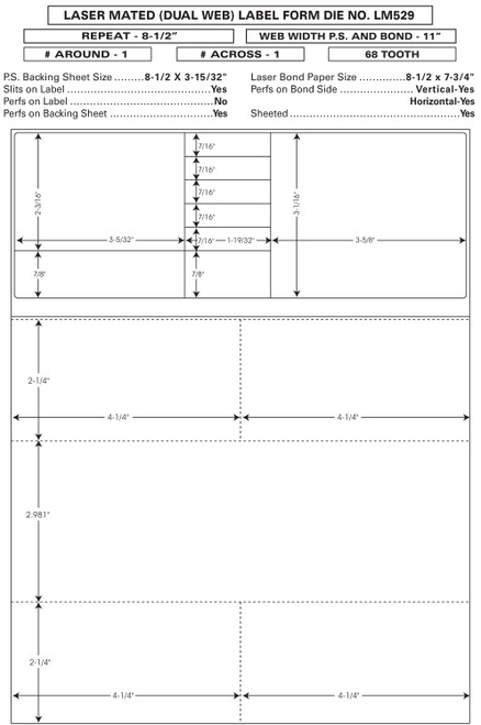 "Custom 8.5"" x 11"" Prescription Laser Label - Form LM529"