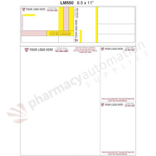 "Custom 8.5"" x 11"" Prescription Laser Label - Form LM550"